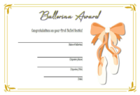 Ballerina Award Certificate Template Free Printable 2