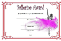 Ballerina Award Certificate Template Free Printable 3