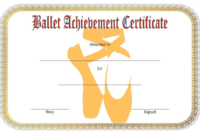 Ballet Certificate of Achievement Template Free 2