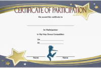 Certificate of Participation Template Free Printable (Dance Competition)