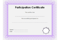 Certificate of Participation Template Word FREE Download 4
