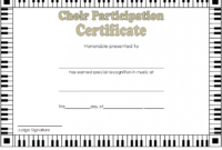 Choir Certificate of Participation Template FREE 1