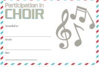 Choir Certificate of Participation Template FREE 5