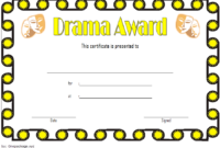 Drama Certificate Template Free Printable 1