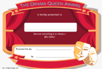 Drama Queen Award Certificate Template FREE Printable 2