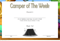 FREE Camper of The Week Certificate Template 3