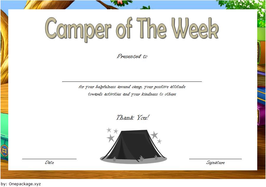 summer camp certificate design, camper of the week certificate template, summer camp certificate of participation