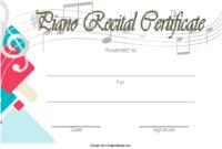 FREE Piano Recital Certificate Template 2