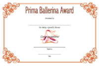 Free Printable Ballet Certificate Template (Version 1)