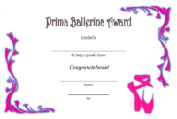 Free Printable Ballet Certificate Template (Version 2)
