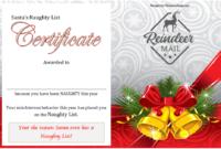 Free Santa Naughty List Certificate Template 3