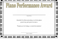 Piano Certificate Template Free Download 1