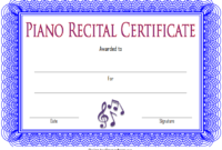 Piano Recital Certificate Free Printable 2