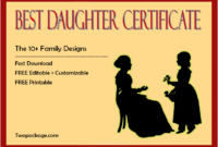 10+ FREE Printable Best Daughter Certificate Designs by Two Package