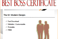 10+ World's Best Boss Certificate Templates Free Download by Two Package