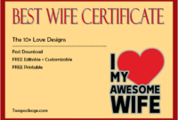 world's best wife certificate template, best wife award certificate, best wife in the world certificate, best wife certificate online