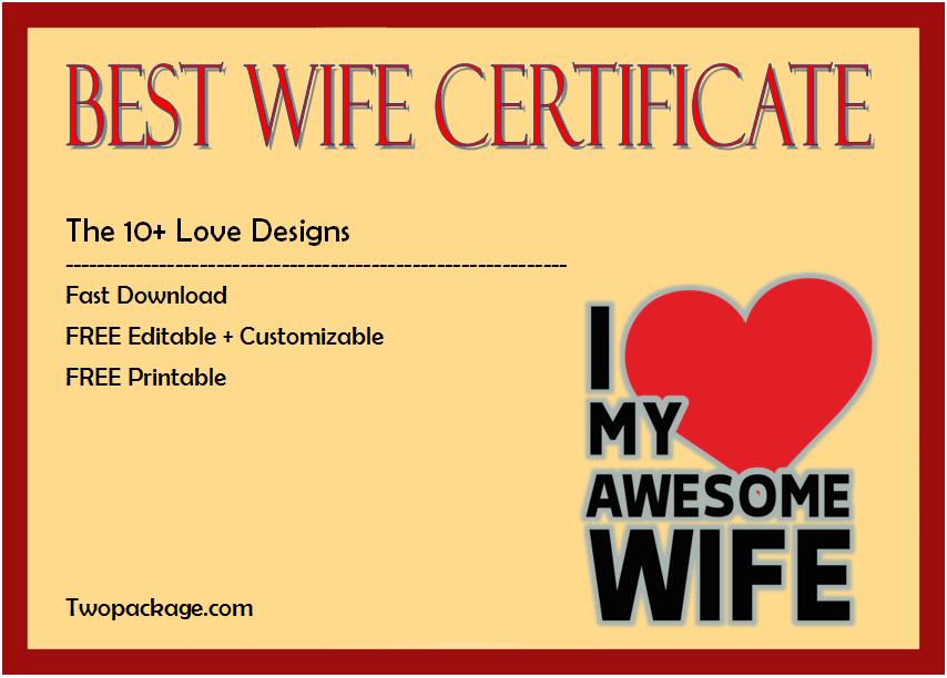 world's best wife certificate template, best wife award certificate, best wife in the world certificate, best wife certificate online