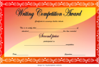 2nd Winner Writing Contest Certificate Template FREE