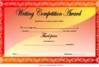 3rd Winner Writing Contest Certificate Template FREE