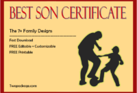 world's best son certificate, best son award certificate, best son ever certificate, printable best son certificate