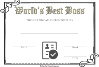 Best Boss Award Certificate Template Free 2