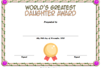 Best Daughter Award Certificate Template Free 1