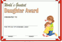 Best Daughter Award Certificate Template Free 3