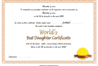 Best Daughter in the World Certificate Free Printable 1