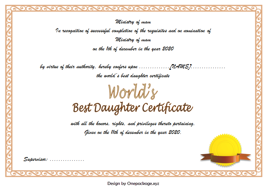 free printable best daughter certificate, best daughter in the world certificate, best daughter award certificate, world's best daughter certificates free, worlds best daughter certificate