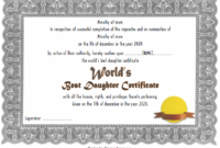 Best Daughter in the World Certificate Free Printable 2