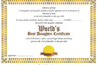 Best Daughter in the World Certificate Free Printable 3