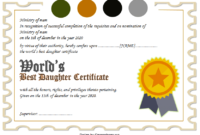 Best Daughter in the World Certificate Free Printable 4