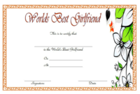 Best Girlfriend in The World Certificate Printable Free 2