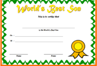 Best Son Award Certificate Template Free Editable 3