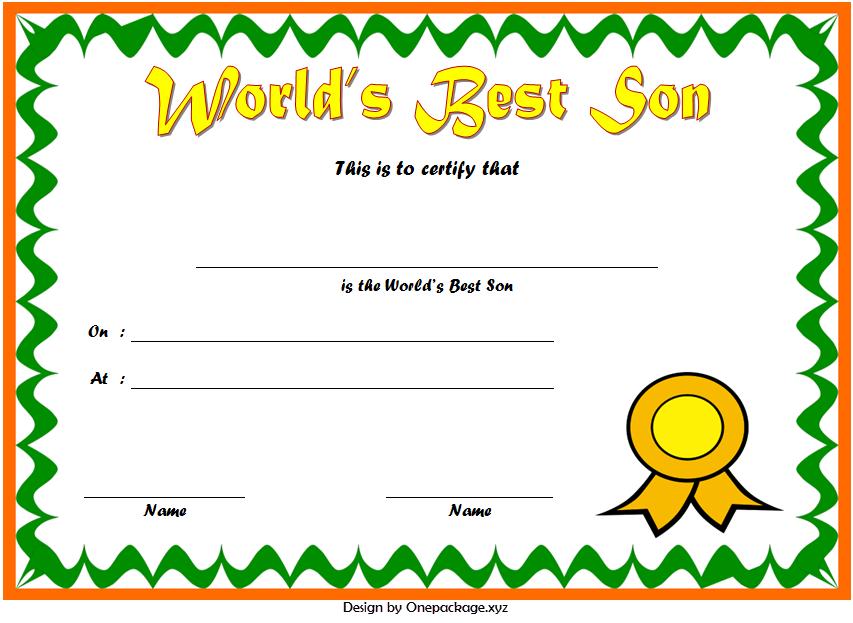 world's best son certificate, best son award certificate, best son ever certificate, printable best son certificate
