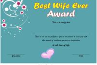 Best Wife Award Certificate Template Free 1