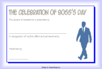 Boss Day Certificate Template Free Printable 2