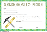 Certificate of Completion Construction Template Free Printable