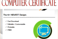 computer certificate template word, computer award certificate template, computer training certificate template, computer programming certificate