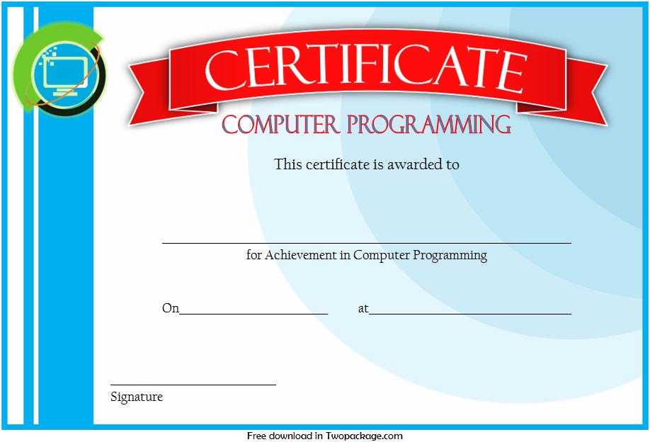 computer certificate template word, computer award certificate template, computer training certificate template, computer programming certificate