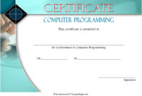 Computer Programming Certificate Template Word FREE 3