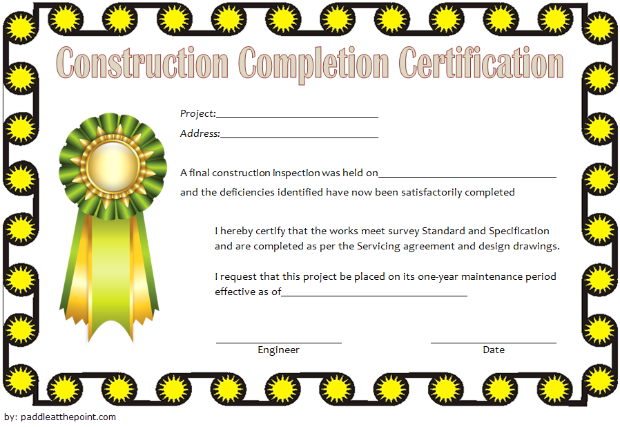certificate of completion construction template, construction certificate of completion template, building certificate of completion template, construction training certificate template, construction vesting certificate template, construction certificate template