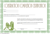 Construction Certificate of Completion Template FREE 2