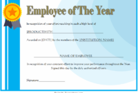 Employee of The Year Certificate Format Free Editable 1