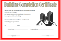 FREE Building Certificate of Completion Template 2