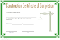 FREE Construction Training Certificate Template 2