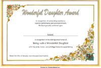 FREE Printable Best Daughter Certificate 1