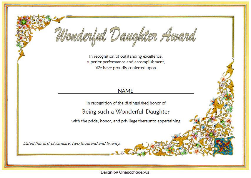 free printable best daughter certificate, best daughter in the world certificate, best daughter award certificate, world's best daughter certificates free, worlds best daughter certificate