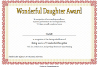 FREE Printable Best Daughter Certificate 2