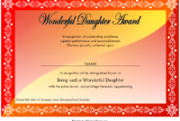 FREE Printable Best Daughter Certificate 3